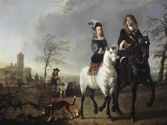 Lady and Gentleman on Horseback-Aelbert Cuyp-Giclee Print