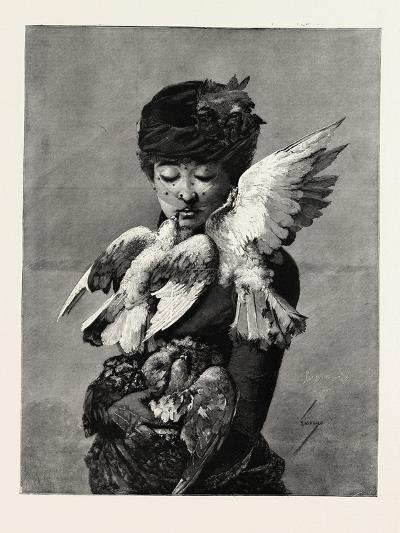 Lady and Pigeons, Fashion, 1882--Giclee Print