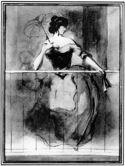 Lady at a Balcony, 19th Century-Constantin Guys-Giclee Print