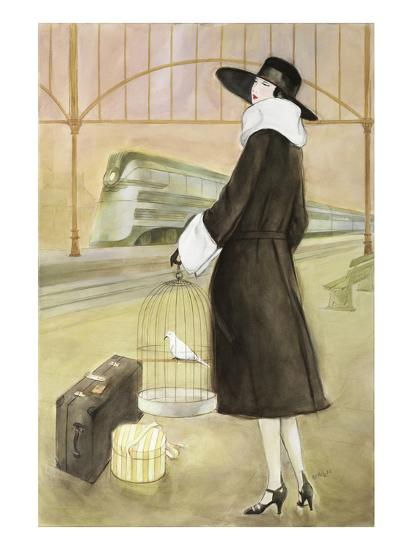 Lady at Train Station-Graham Reynold-Art Print