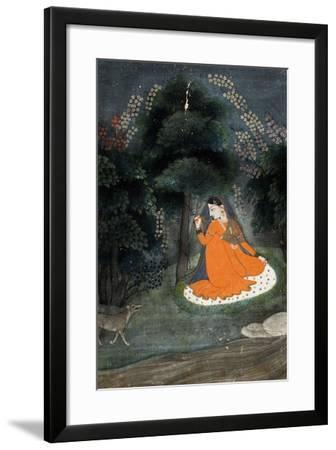 Lady Awaiting Her 'Beloved' in Grove with Dog, 18th-19th Century--Framed Giclee Print