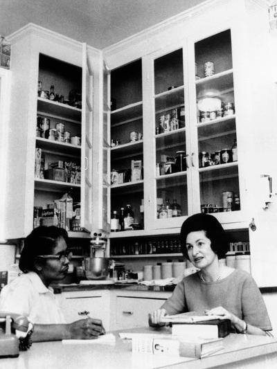 Lady Bird Johnson, in the Kitchen with Her African American Cook, Zephyr Wright--Photo