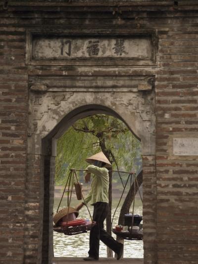 Lady Carrying Baskets, Hoan Kiem Lake, Hanoi, Northern Vietnam, Southeast Asia-Christian Kober-Photographic Print