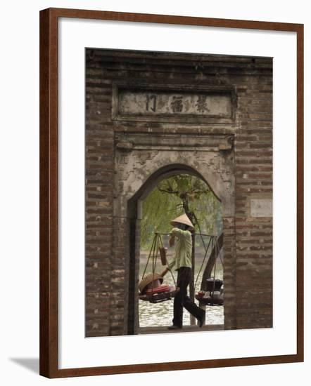 Lady Carrying Baskets, Hoan Kiem Lake, Hanoi, Northern Vietnam, Southeast Asia-Christian Kober-Framed Photographic Print