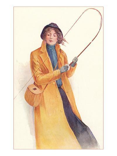Lady Casually Fly Fishing--Art Print