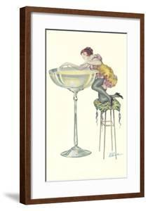 Lady Climbing into Champagne Glass