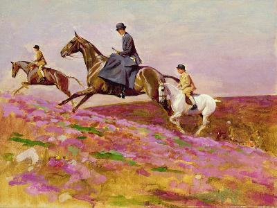 Lady Currie with Her Sons Bill and Hamish Hunting on Exmoor-Cecil Aldin-Giclee Print