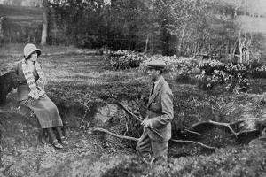 Lady Elizabeth Bowes-Lyon and the Duke of York at Her Hertfordshire Home Near Welwyn, 1923