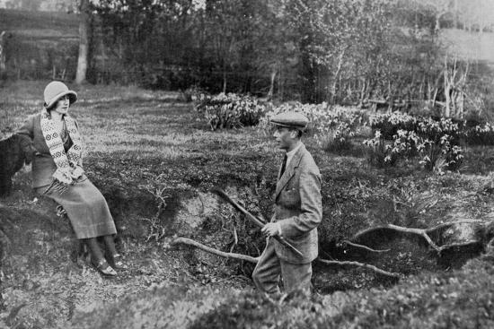 Lady Elizabeth Bowes-Lyon and the Duke of York at Her Hertfordshire Home Near Welwyn, 1923--Giclee Print
