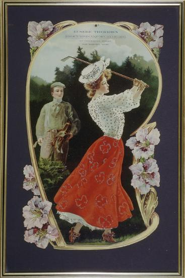Lady golfer playing a shot, watched by her caddy, c1910-Unknown-Giclee Print