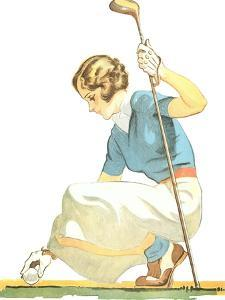 Lady Golfer Teeing Up