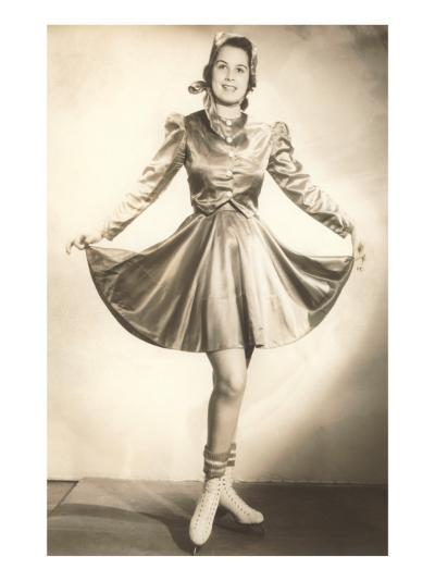 Lady Ice Skater in Tasteful Skirt--Art Print