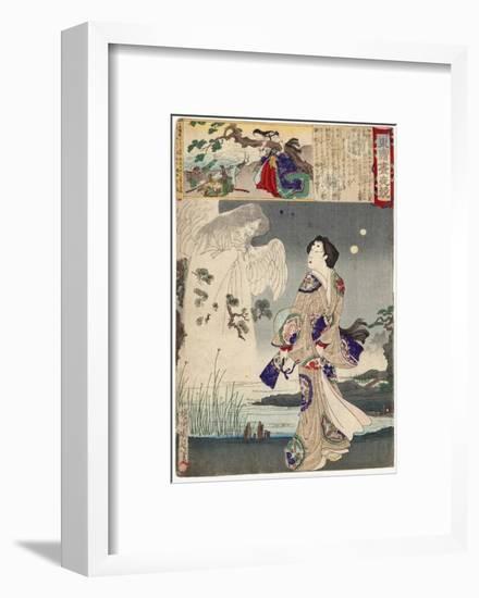 Lady Iga and the Ghost of Sasaki Kiyotaka, 1886-Toyohara Chikanobu-Framed Giclee Print