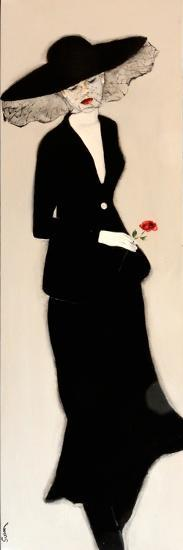 Lady in Black with Hat and Rose, 2016-Susan Adams-Giclee Print