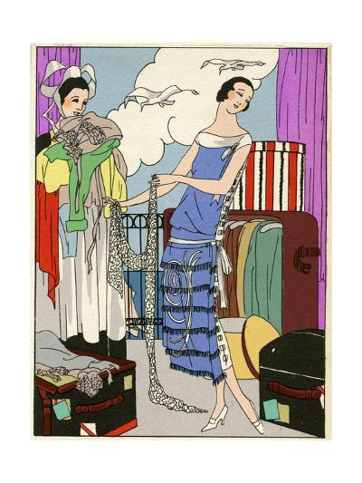 Lady in Blue and White Dress--Giclee Print