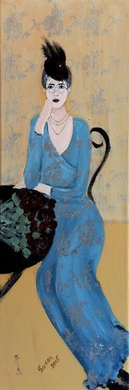 Lady in Blue Seated, 2015-Susan Adams-Giclee Print
