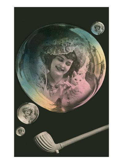 Lady in Bubble Playing with Kitten--Art Print