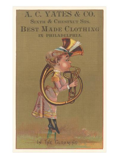 Lady in Bustle Playing French Horn--Art Print
