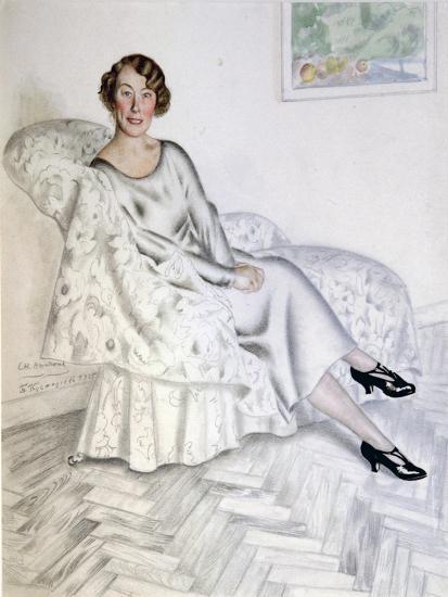 Lady in Interior, 1925-Boris Michaylovich Kustodiev-Giclee Print