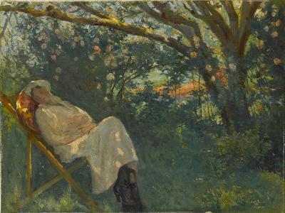 Lady in Pink on a Chaise Longue-Nazmi Ziya G?ran-Giclee Print