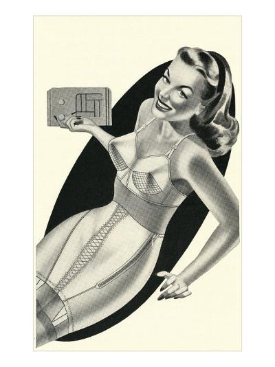 Lady in Underwear Adjusting Radio--Art Print