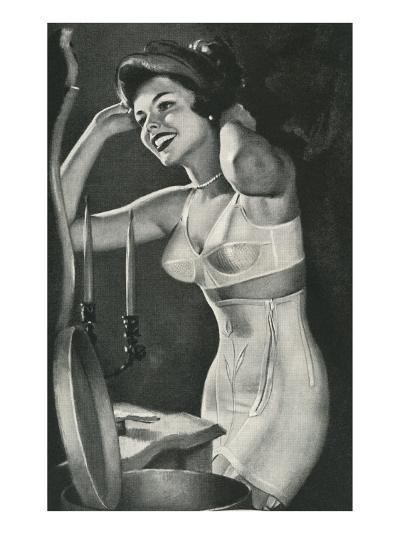 Lady in Underwear Trying on Hat--Art Print