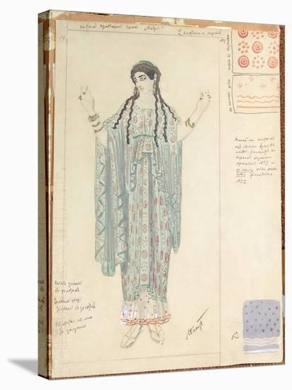 Lady-in-waiting, Costume Design for 'Hippolytus' by Euripides-Leon Bakst-Stretched Canvas Print