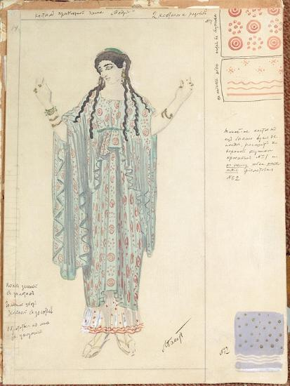 Lady-in-waiting, Costume Design for 'Hippolytus' by Euripides-Leon Bakst-Giclee Print