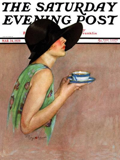"""""""Lady in Wide Brim Hat Holding Tea Cup,"""" Saturday Evening Post Cover, March 24, 1928-Penrhyn Stanlaws-Giclee Print"""