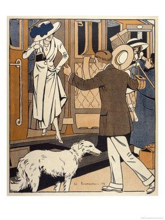 Lady is Welcomed as She Arrives at a Station-Ed Touraine-Giclee Print