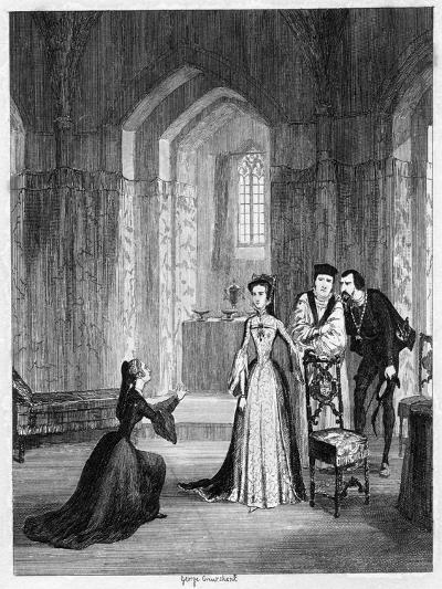 Lady Jane Grey Imploring Queen Mary to Spare Her Husband's Life, 1554-George Cruikshank-Giclee Print