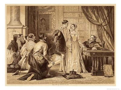 Lady Jane Greys Reluctance to Accept the Crown Pictured Here with Lord Guildford Dudley Her Husband-Herbert Bourne-Giclee Print