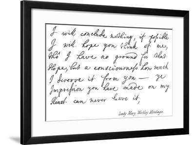 Lady Mary Wortley Montagu--Framed Giclee Print