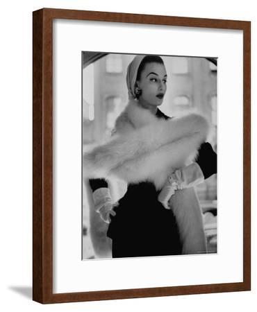 Lady Modeling a Boa Made Out of Six Rounded Skins of Natural White Fox, Selling For $350-Gordon Parks-Framed Premium Photographic Print