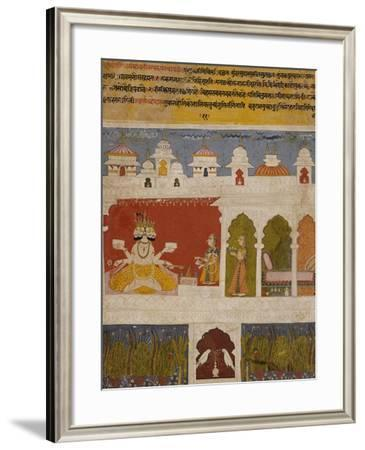 Lady on a Terrace Offers the Ancient Vedic Ritual Sacrifice to Brahma circa 1725--Framed Giclee Print