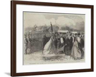 Lady Palmerston Cutting the First Turf of the East and West Junction Railway at Towcester--Framed Giclee Print