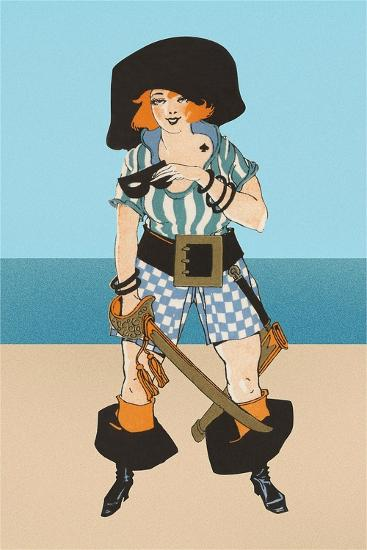 Lady Pirate with Tattoo--Art Print