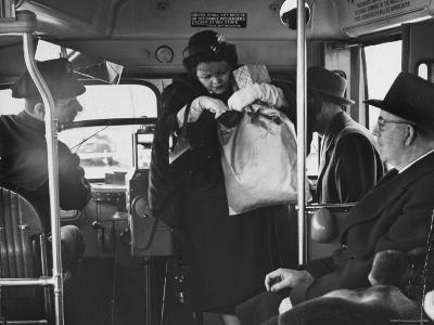 Lady Searching For 2 Cents For Her Bus Fair-Nina Leen-Photographic Print