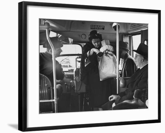 Lady Searching For 2 Cents For Her Bus Fair-Nina Leen-Framed Photographic Print