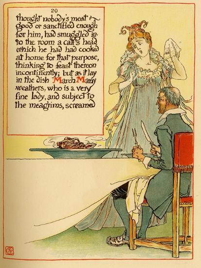 Lady Serves A Calves Head Which She Had Cooked At Home-Walter Crane-Art Print