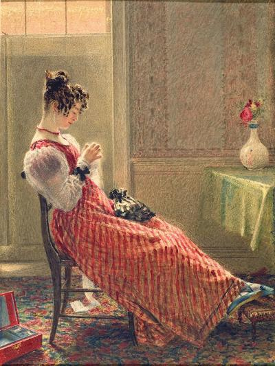 Lady Sewing, C.1830-William Henry Hunt-Giclee Print