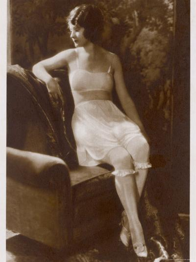 Lady Sits Negligently in Her Undies, Bra French Drawers or Knickers and Stockings--Photographic Print