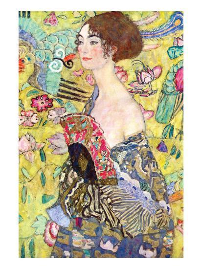 Lady with a Fan-Gustav Klimt-Art Print