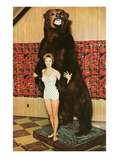 Lady with Bear, Retro--Art Print
