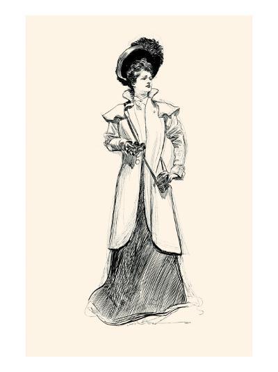 Lady With Binoculars-Charles Dana Gibson-Art Print