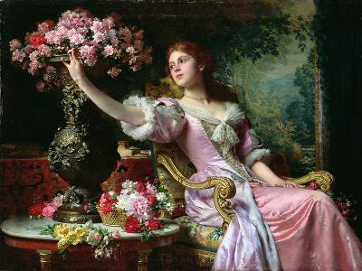 Lady with Flowers-Ladislaw von Czachorski-Giclee Print