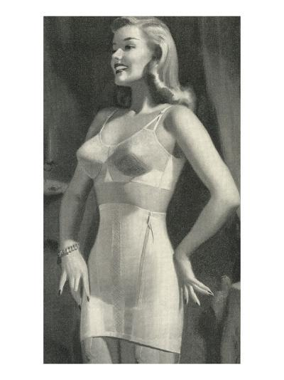 Lady with Good Posture in Underwear--Art Print