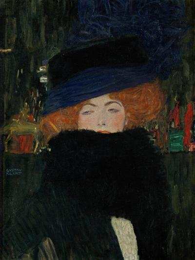 Lady with Hat and Feather Boa, 1909-Gustav Klimt-Giclee Print