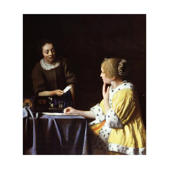 Lady with Her Maidservant Holding a Letter-Johannes Vermeer-Giclee Print