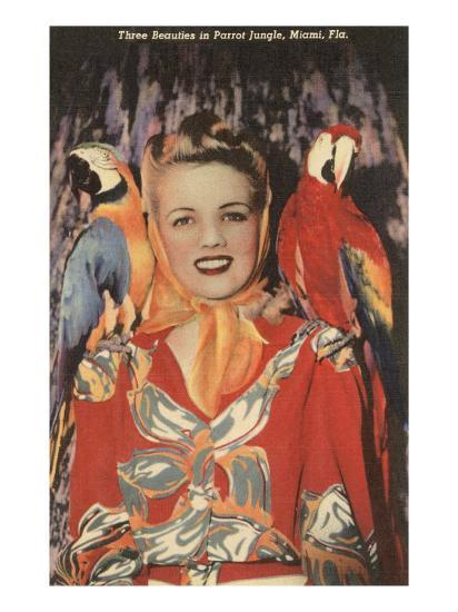 Lady with Macaws, Florida--Art Print